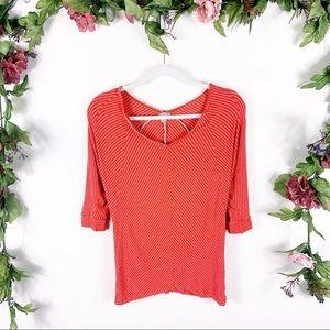 Anthro Bordeaux | red white stripe blouse
